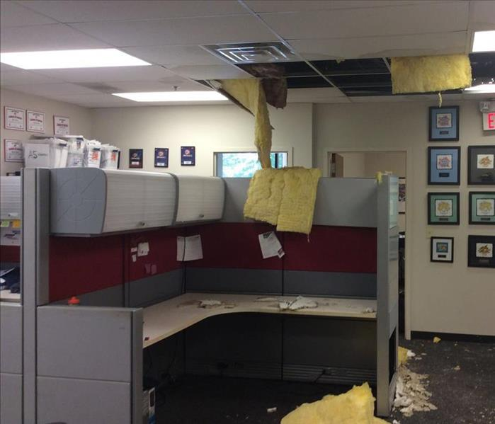 Commercial Water Damage in Office Space Before